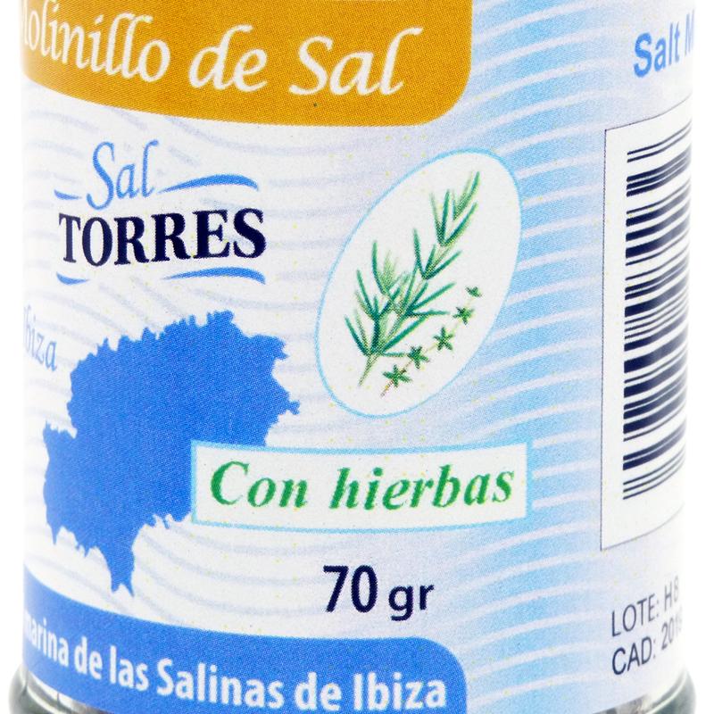 Bild von Salzmühle mit Kräutern - Molinillo de Sal de Ibiza con Hierbas Aromáticas (70 g) - Sal Torres