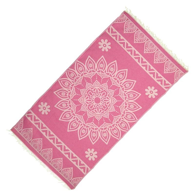 "Strandtuch ""Cala Pada"" (100 x 190 cm) - Pink Candy - Vorderseite"
