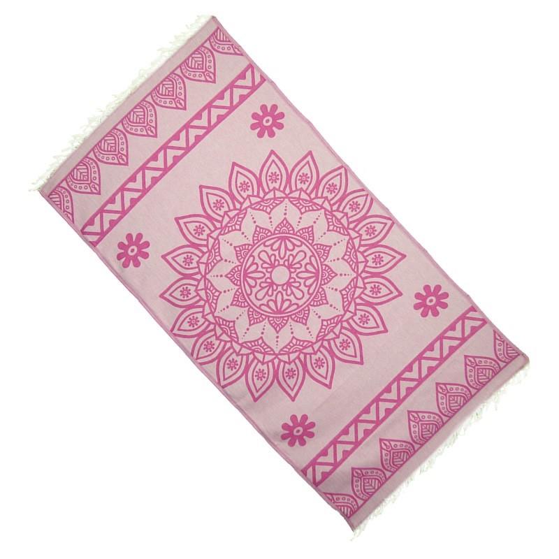 "Strandtuch ""Cala Pada"" (100 x 190 cm) - Pink Candy - Rückseite"