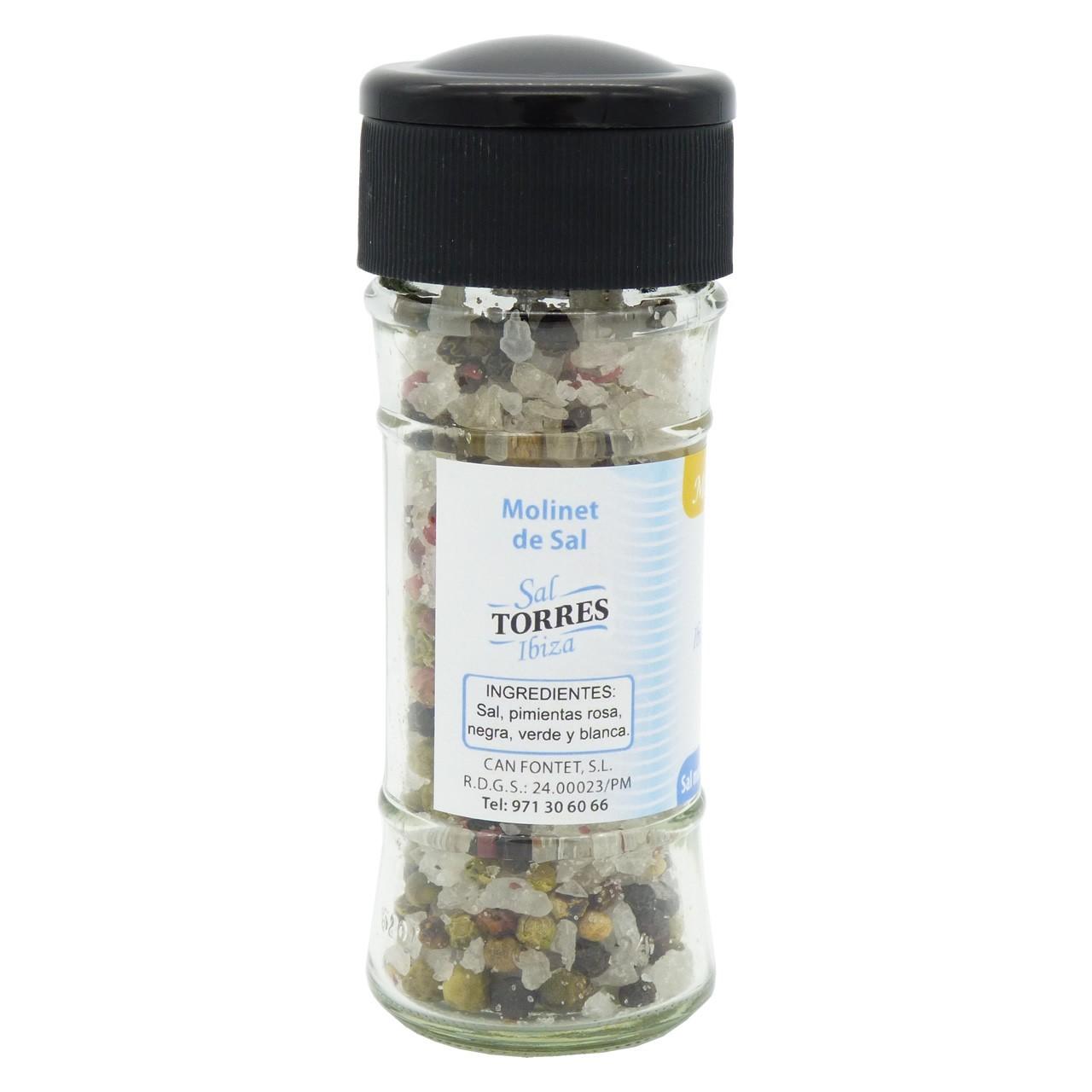 Bild von Salzmühle mit 4 verschiedenen Pfeffersorten - Molinillo de Sal de Ibiza a las 4 Pimientas (70 g) - Sal Torres