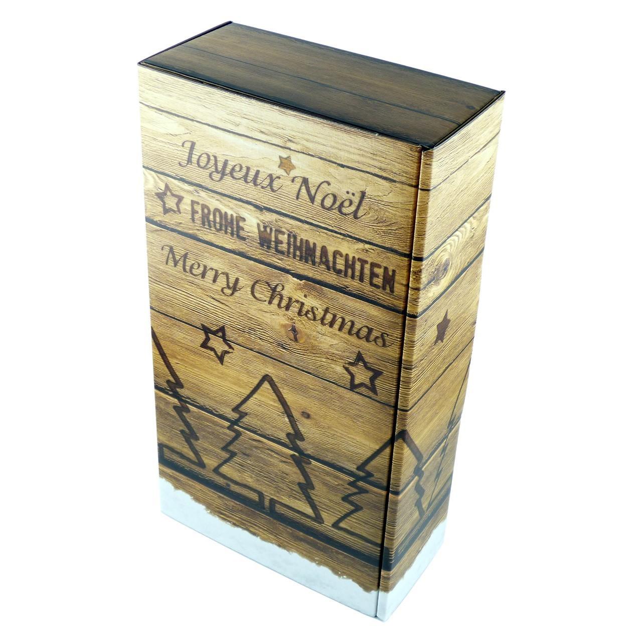 Weihnachtliche Geschenkverpackung mit Echtholz-Optik sowie neuartiger Echtholz-Haptik und staubfreier, naturbelassenen Holzwolle