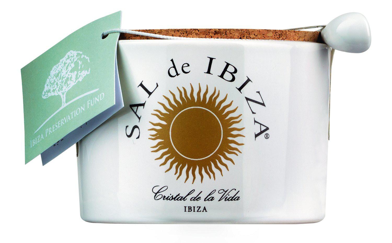 Bild von Fleur de Sel Isla Blanca im Keramiktöpfchen mit Löffel - Sal de Ibiza