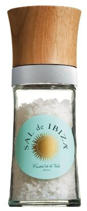 Bild von Salzmühle aus Glas & Holz, gefüllt - Sal de Ibiza